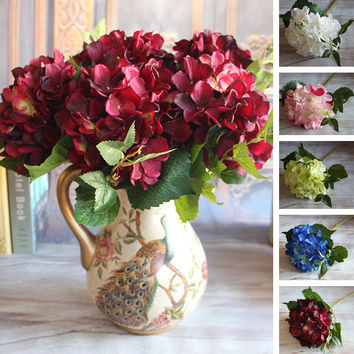 Wine Red Floral 1 Bouquet Artificial Silk Peony Flower Arrangement Hydrangea Wedding Decor Party DIY