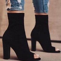 Women Simple Fashion Zip Rough Heel Fish Mouth Short Boots Heels Shoes