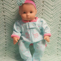 "Baby Doll Clothes to fit 15 inch baby doll ""Little Sister"" doll outfit with sleeper and headband hair clip L3"