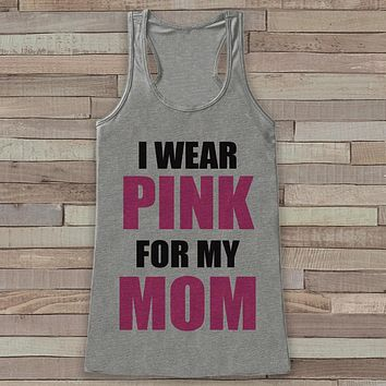 Women's Wear Pink Tank - Cancer Awareness Tank - Grey Tank Top - Grey Racerback Tank Top - Running Race Team Tanks - Fight Cancer Shirt