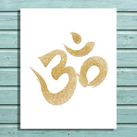 "Digital File Gold Glitter ""Om"" Symbol, Yoga, Namaste, Wall Art, Home Decor"