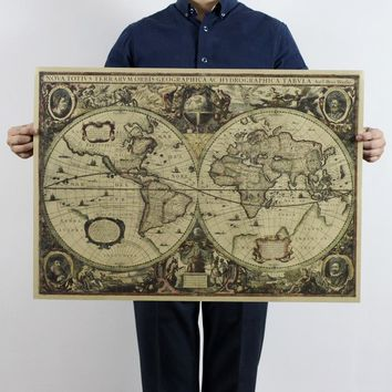 1641 Ancient Nautical Charts Vintage Kraft Paper Poster Wall Stickers Room Decoration Home Decal Global Maps Mural Art Creative