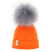 Lux Pom Beanie Neon Orange Gray Fur