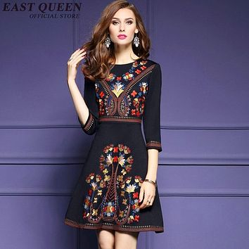 Mexican embroidered dress woman black mexican dress boho chic dresses ladies tunic boho style dresses NN0211 YW