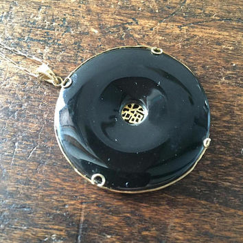 Chinese Black Onyx Pendant, 14K Gold, Art Deco Vintage Jewelry