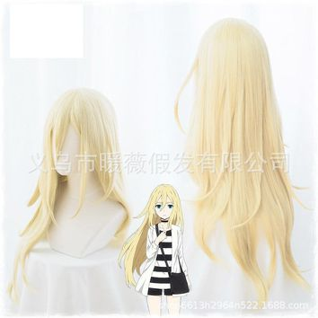 2018 New Anime Angels of Death Rachel Gardner Ray 80cm Long Straight Blonde Cosplay Wig Synthetic Full Hair + Wig Cap