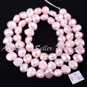 Free Shipping 5-7mm Natural Freeform Light Pink Freshwater Pearl Gem Stone For DIY Necklace Bracelat Jewelry Making Beads 14""