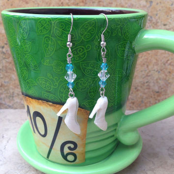 Pearl Polymer Clay Glass Slipper With Blue and Clear Swarovski Crystals Dangle Earrings Inspired By Disneys Cinderella