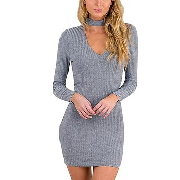 Women Elegant Vestidos2017 Long Sleeve Sexy Party Black Knitted Dress Casual Bodycon Dress Elegant Short Sweater Solid Dresses