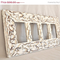 ON SALE Detailed White Shabby Chic Wood Frame With Four Openings