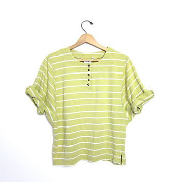 Vintage striped tshirt. cropped slouchy t shirt. Grass GREEN + WHITE tee shirt. Batwing 90s cotton striped top. Henley tshirt. women's small