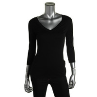 INC Womens Petites Modal Blend 3/4 Sleeves Pullover Top