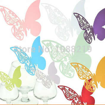 100pcs/Lot Wedding Butterfly Paper Place Card Wine Glass Cup Baby Shower Decorations Craft Supplies
