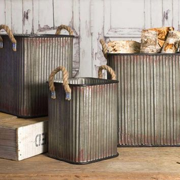 Industrial Inspired Corrugated Metal Storage Bins (set of 3)