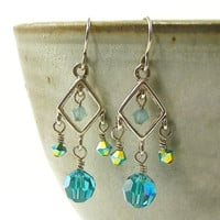 Silver Chandelier Earrings - Aqua Turquoise Crystal  Silver Dangle Jewelry