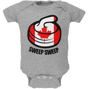 Winter Sports Flag Curling Sweep Sweep Canada Soft Baby One Piece