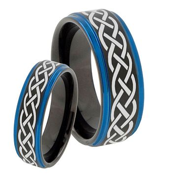 His Hers Celtic Knot Blue Step Edges Tungsten Men's Wedding Band Set