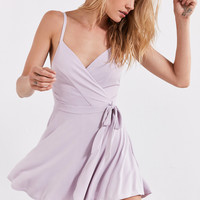 Kimchi Blue Veruca Skorted Wrap Romper | Urban Outfitters