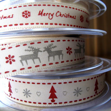 SALE Ribbons MERRY Christmas in 4 Different Designs surprise mix