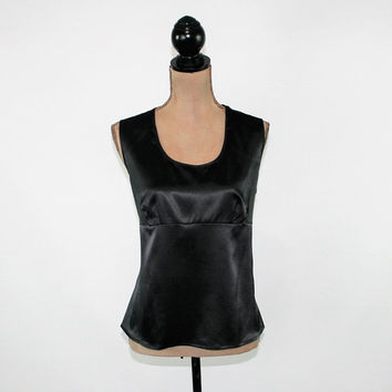 Sleeveless Black Satin Top Women Empire Waist Blouse Scoop Neck Black Top Large Sleeveless Size 14 JG Hook Vintage Clothing Womens Clothing