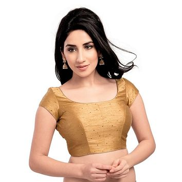 Designer Indian Traditional Gold Dupion Silk Padded  Half Sleeves Saree Blouse Choli (X-202Sl)