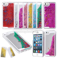 Dynamic Liquid Glitter Stars Bling Quicksand Hard Case Cover for iPhone 5 5G 5S