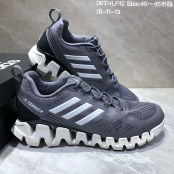 AUGUAU A466 Adidas Terrex High Frequency Breathable TPU Vamp Running Shoes Grey White