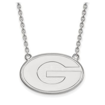 NCAA 14k White Gold U of Georgia Large Disc Pendant Necklace