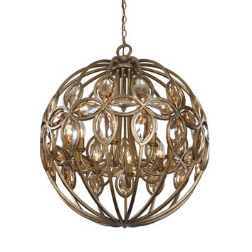 Ambre 8 Light Gold Sphere Chandelier by Uttermost