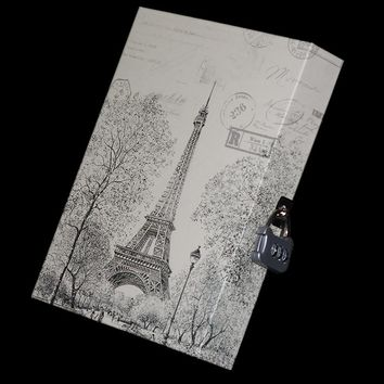 Mariyana Boxed Diary European Design Lock Drawing Eiffel Journal Notebook Secret Diary Vintage Cutrue Stationery Notepad Agenda