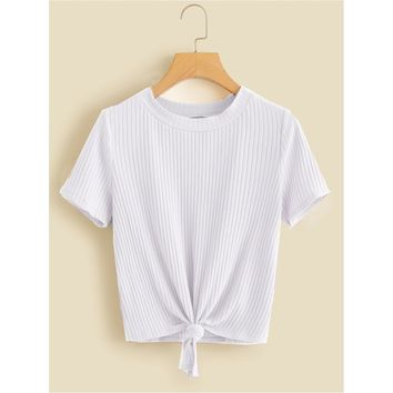 Knot Front Solid Ribbed Tee Plain
