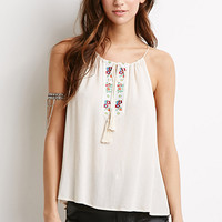 Floral-Embroidered Halter Top