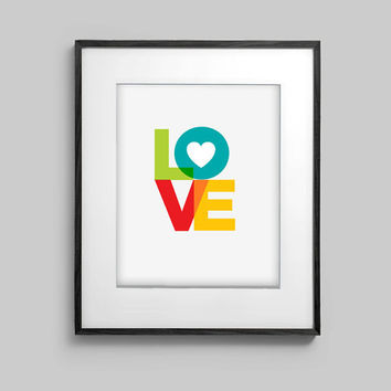 Love Heart 8x10 Typography Modern Art Print Artwork Poster Print Wall Decor Gift Anniversary Wedding Wife Husband Mother Daughter Grandma