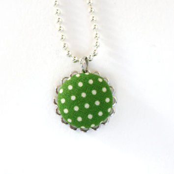Green Polka Dot Necklace, Jewelry,  Pendant, Ball Chain, Fabric, Spring
