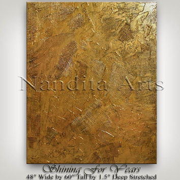 Large Gold Original Texture Artwork 60 Inch, Thick Paint, Contemporary Art, Palette Knife, Wall Decor, Wall Art by Nandita Albright