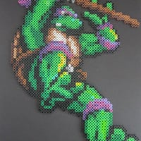Large TMNT Donatello Ninja Turtle Perler Bead Sprite Mounted on Black Foam Board