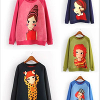 Lady Cartoon Print Sweater