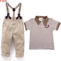 New HOT Baby Clothes Kids Striped T-shirt Suspender Pant Sets Gentle Boys Short Sleeve Overalls Summer Suits 1-4Year Fashion Trousers 19874