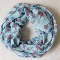blue tulips,clove infinity scarf, scarf, scarves, long scarf, loop scarf, gift
