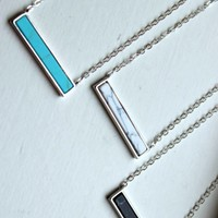 Silver Howlite Bar Necklace