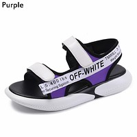 OFF-WHITE Tide brand women's Velcro webbing shoes thick-soled toe sandals Purple