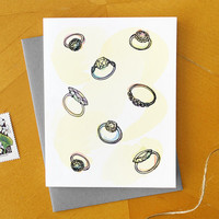 Engagement Card with Wedding Rings / Illustrated Bridal Shower Card Design