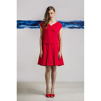 Red pleated dress by Livlov