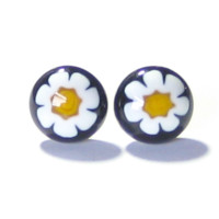 Murano Glass Black Millefiori Daisy Post Earrings, Stud Earrings
