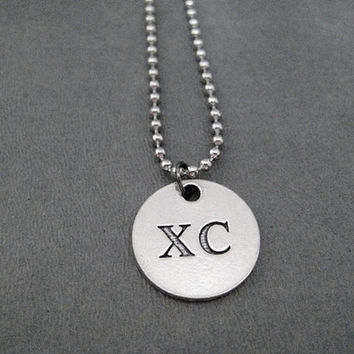 XC Round Pendant Necklace - Pewter Charm on Stainless Steel Ball Chain - Unisex Cross Country Necklace - XC Guy Ball Chain Necklace - Xc Dad
