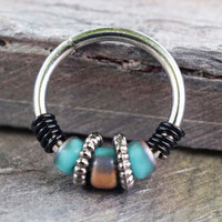 16G 18G 20G Turquoise and Copper Beaded Hoop Earrings Or Nose Hoop