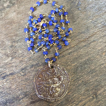 Lapis Gemstone Necklace Artisan Bronze Bird Pendant, Wire Wrapped Beaded Boho Jewelry by Two Silver Sisters