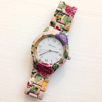 Pink Floral Metal Watch #W72