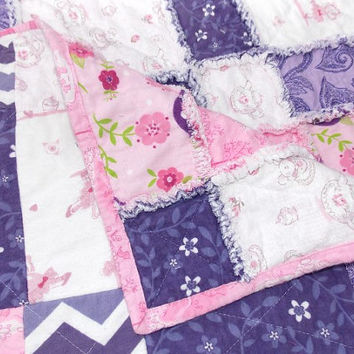 Baby Girl Pink Purple Ballet Bears Flannel Rag Quilt