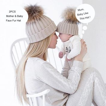 2Pcs Mother&Child Hat Baby Warm Beanies Winter Knit Beanie Mink Fox Fur Ball Cap Pom Poms Hat Crochet Female Gorros Bonnet Touca